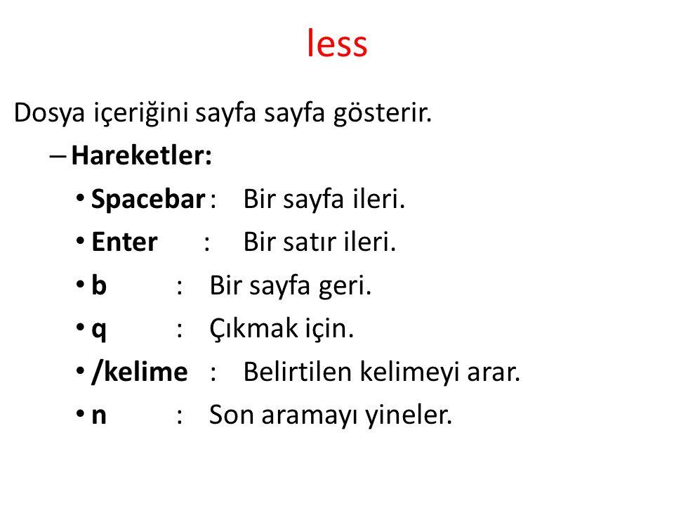 less Dosya içeriğini sayfa sayfa gösterir. – Hareketler: Spacebar:Bir sayfa ileri. Enter :Bir satır ileri. b:Bir sayfa geri. q:Çıkmak için. /kelime:Be