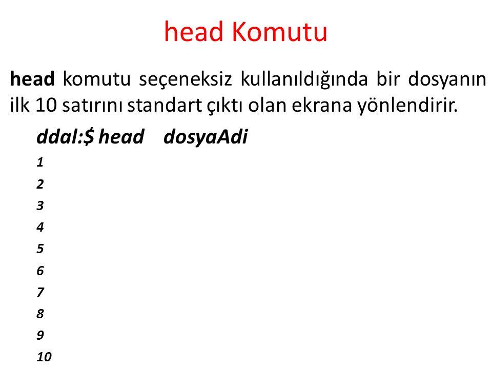 head Komutu head komutu seçeneksiz kullanıldığında bir dosyanın ilk 10 satırını standart çıktı olan ekrana yönlendirir. ddal:$ head dosyaAdi 1 2 3 4 5