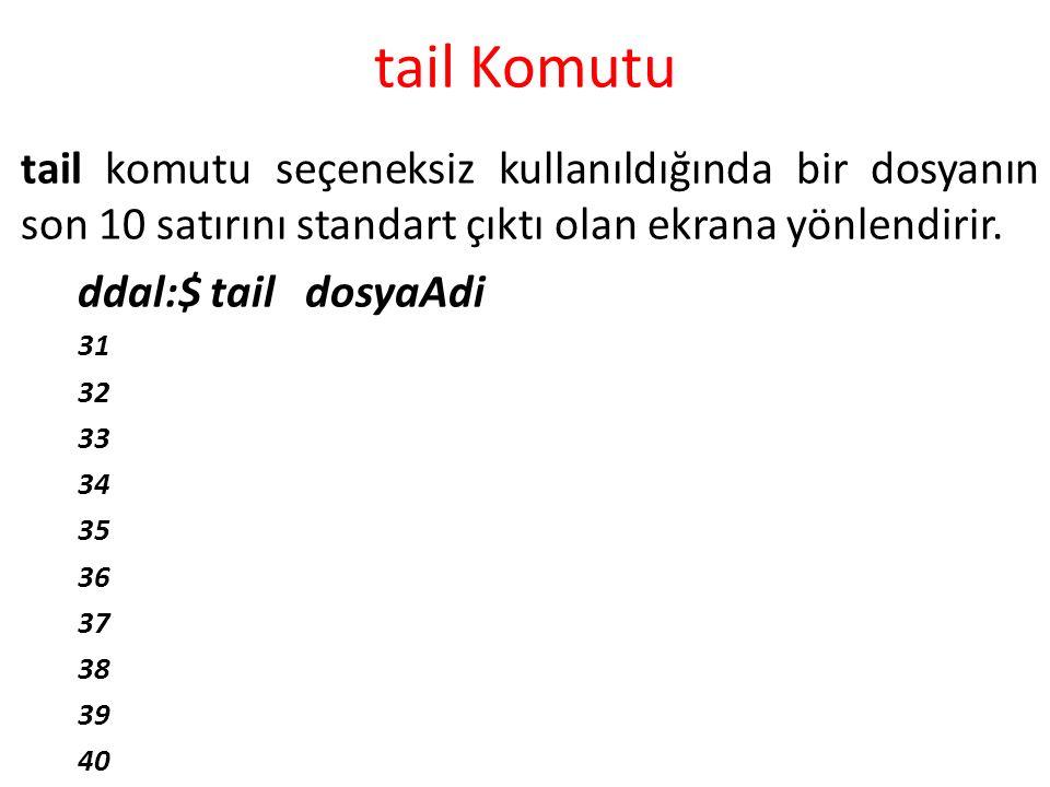 tail Komutu tail komutu seçeneksiz kullanıldığında bir dosyanın son 10 satırını standart çıktı olan ekrana yönlendirir. ddal:$ tail dosyaAdi 31 32 33