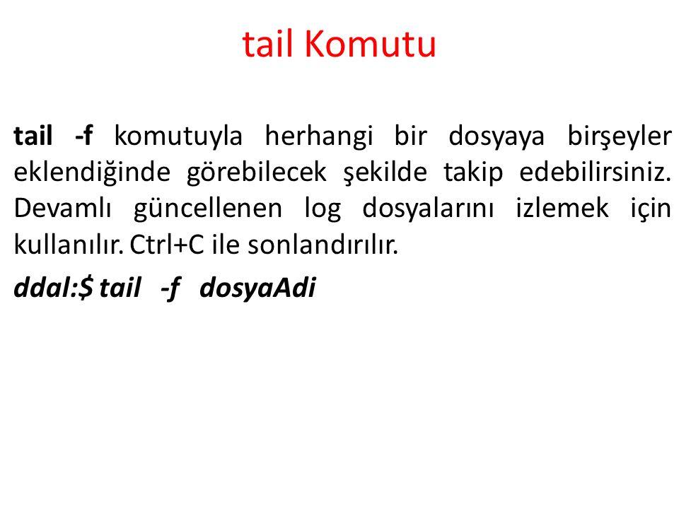 tail Komutu tail -f komutuyla herhangi bir dosyaya birşeyler eklendiğinde görebilecek şekilde takip edebilirsiniz. Devamlı güncellenen log dosyalarını