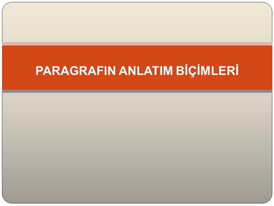 PARAGRAFIN ANLATIM BİÇİMLERİ