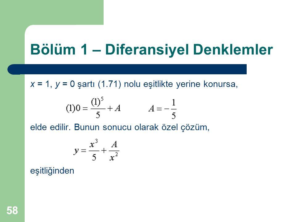 58 Bölüm 1 – Diferansiyel Denklemler x = 1, y = 0 şartı (1.71) nolu eşitlikte yerine konursa, elde edilir. Bunun sonucu olarak özel çözüm, eşitliğinde