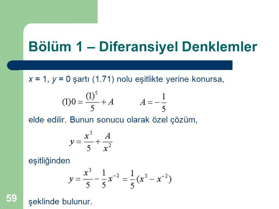 59 Bölüm 1 – Diferansiyel Denklemler x = 1, y = 0 şartı (1.71) nolu eşitlikte yerine konursa, elde edilir. Bunun sonucu olarak özel çözüm, eşitliğinde
