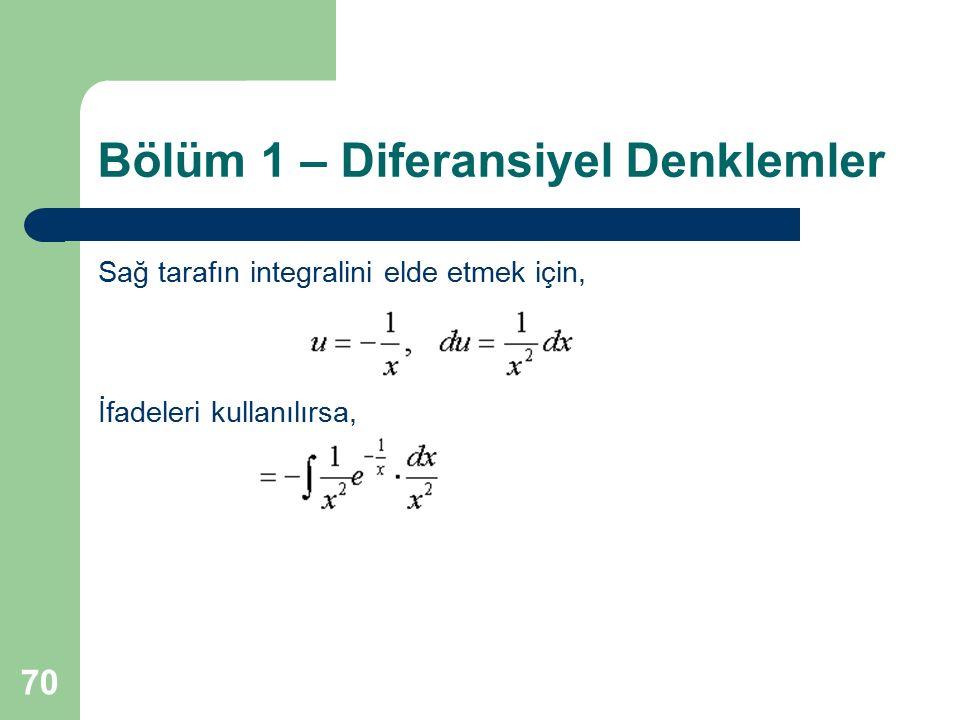 70 Bölüm 1 – Diferansiyel Denklemler Sağ tarafın integralini elde etmek için, İfadeleri kullanılırsa,