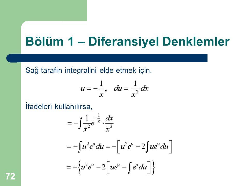 72 Bölüm 1 – Diferansiyel Denklemler Sağ tarafın integralini elde etmek için, İfadeleri kullanılırsa,
