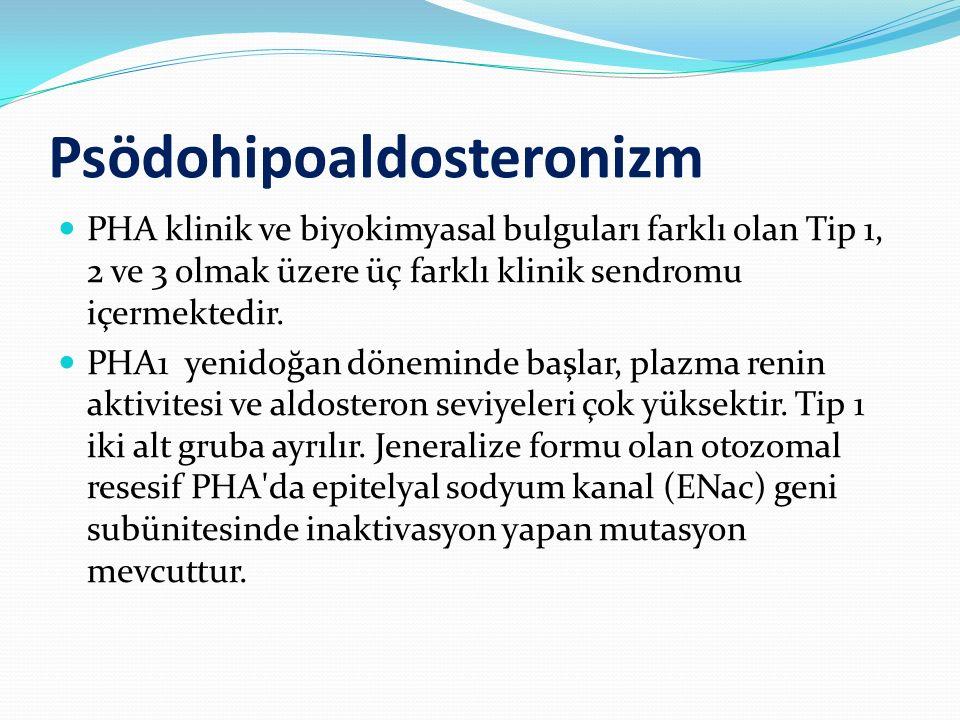 Psödohipoaldosteronizm PHA klinik ve biyokimyasal bulguları farklı olan Tip 1, 2 ve 3 olmak üzere üç farklı klinik sendromu içermektedir. PHA1 yenidoğ