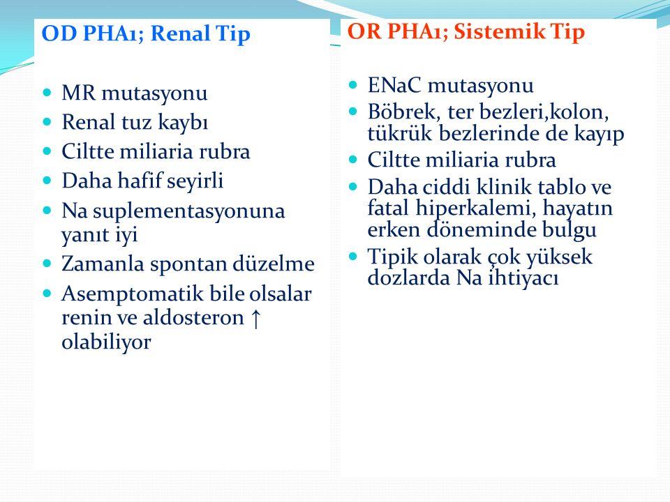 OD PHA1; Renal Tip MR mutasyonu Renal tuz kaybı Ciltte miliaria rubra Daha hafif seyirli Na suplementasyonuna yanıt iyi Zamanla spontan düzelme Asempt