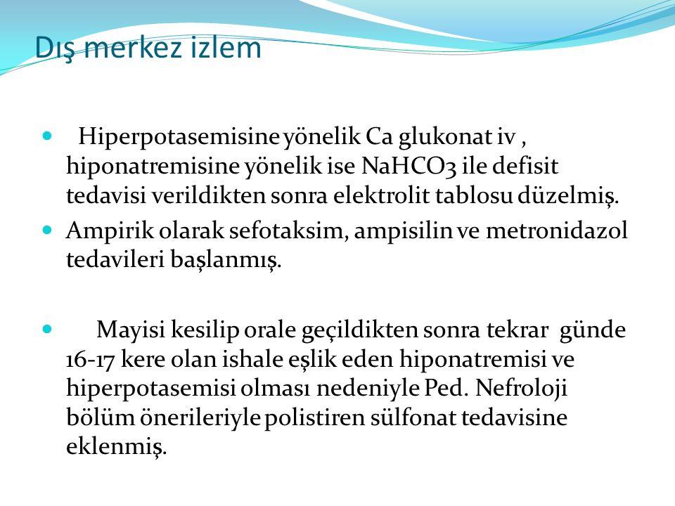 Dış merkez izlem Hiperpotasemisine yönelik Ca glukonat iv, hiponatremisine yönelik ise NaHCO3 ile defisit tedavisi verildikten sonra elektrolit tablos
