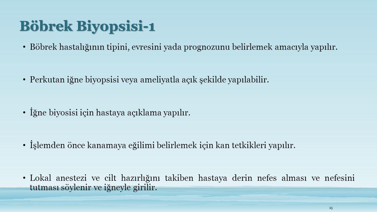Böbrek Biyopsisi-1 Böbrek hastalığının tipini, evresini yada prognozunu belirlemek amacıyla yapılır. Perkutan iğne biyopsisi veya ameliyatla açık şeki