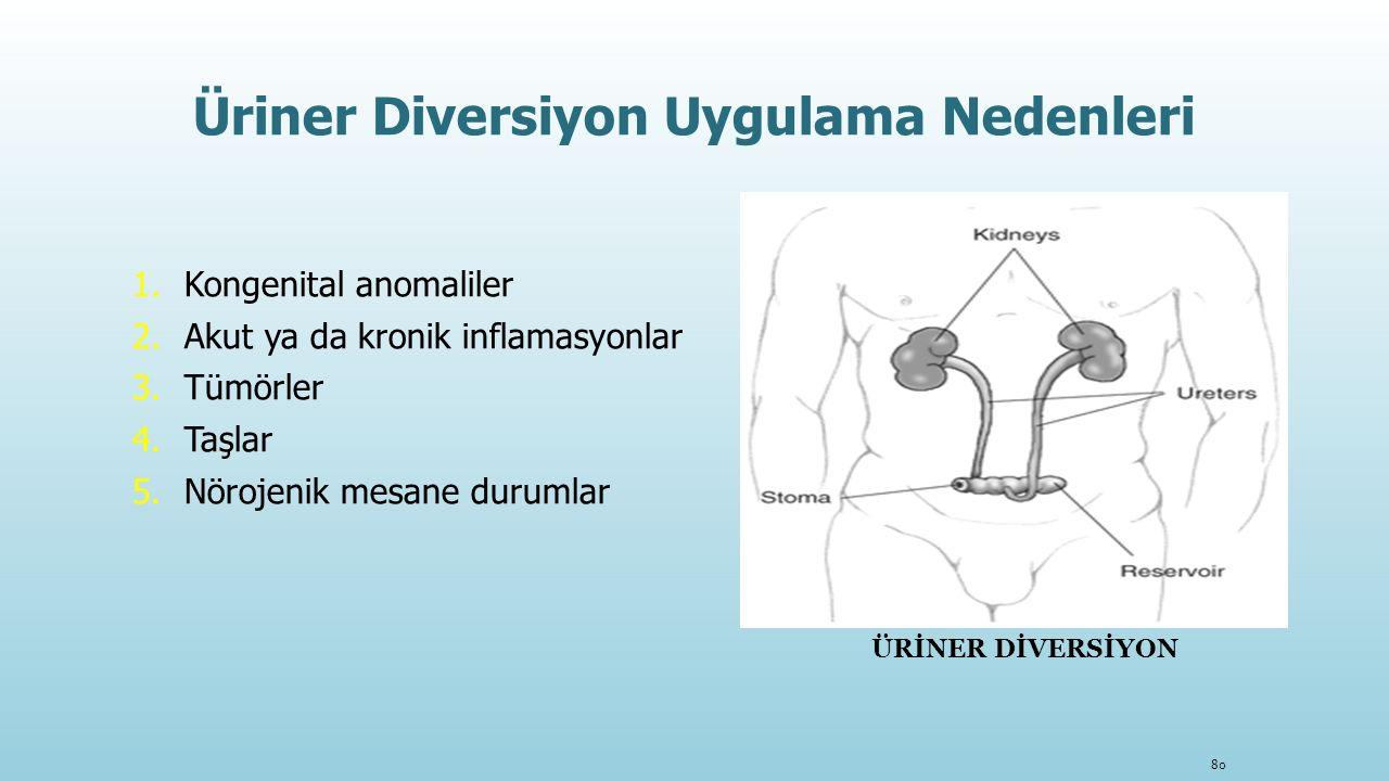 Üriner Diversiyon Uygulama Nedenleri 1.Kongenital anomaliler 2.Akut ya da kronik inflamasyonlar 3.Tümörler 4.Taşlar 5.Nörojenik mesane durumlar 80 ÜRİ