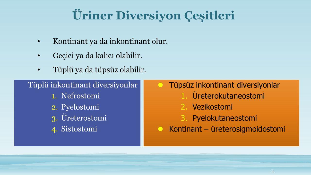 Üriner Diversiyon Çeşitleri Kontinant ya da inkontinant olur. Geçici ya da kalıcı olabilir. Tüplü ya da tüpsüz olabilir. 81 Tüpsüz inkontinant diversi