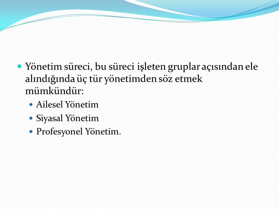 Yönetim süreci, bu süreci işleten gruplar açısından ele alındığında üç tür yönetimden söz etmek mümkündür: Ailesel Yönetim Siyasal Yönetim Profesyonel Yönetim.