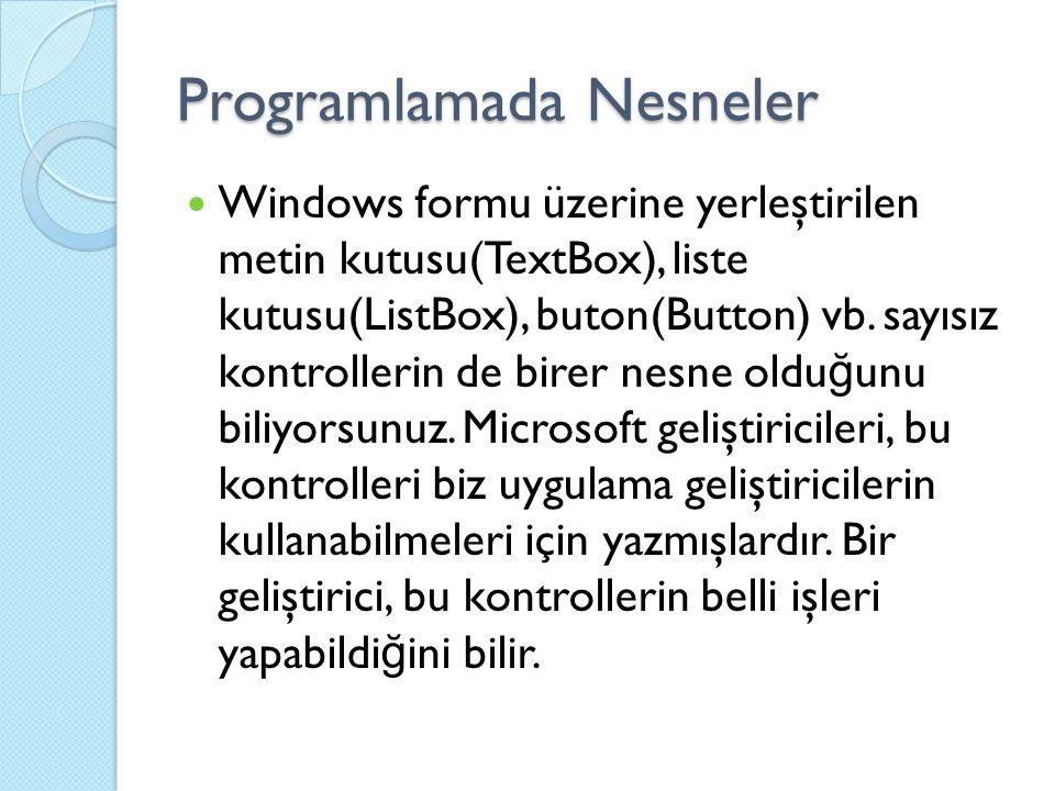 Programlamada Nesneler Windows formu üzerine yerleştirilen metin kutusu(TextBox), liste kutusu(ListBox), buton(Button) vb. sayısız kontrollerin de bir