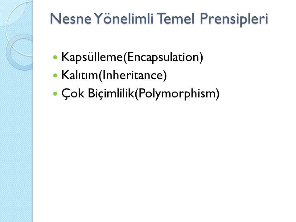 Nesne Yönelimli Temel Prensipleri Kapsülleme(Encapsulation) Kalıtım(Inheritance) Çok Biçimlilik(Polymorphism)