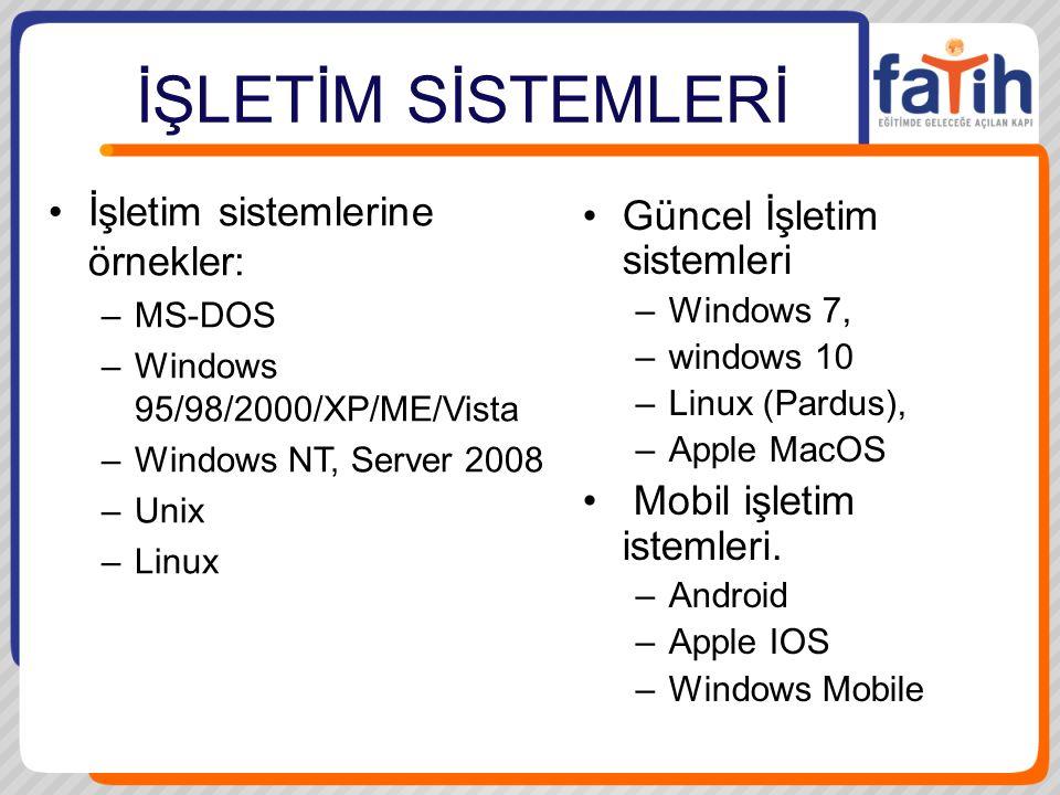 İŞLETİM SİSTEMLERİ İşletim sistemlerine örnekler: –MS-DOS –Windows 95/98/2000/XP/ME/Vista –Windows NT, Server 2008 –Unix –Linux Güncel İşletim sistemleri –Windows 7, –windows 10 –Linux (Pardus), –Apple MacOS Mobil işletim istemleri.