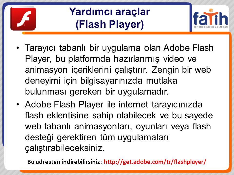 Yardımcı araçlar (Flash Player) Tarayıcı tabanlı bir uygulama olan Adobe Flash Player, bu platformda hazırlanmış video ve animasyon içeriklerini çalıştırır.