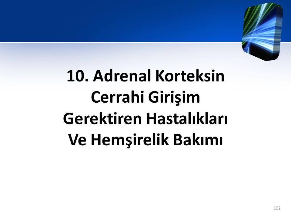 10. Adrenal Korteksin Cerrahi Girişim Gerektiren Hastalıkları Ve Hemşirelik Bakımı 102