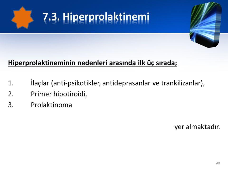 Hiperprolaktineminin nedenleri arasında ilk üç sırada; 1.İlaçlar (anti-psikotikler, antideprasanlar ve trankilizanlar), 2.Primer hipotiroidi, 3.Prolak