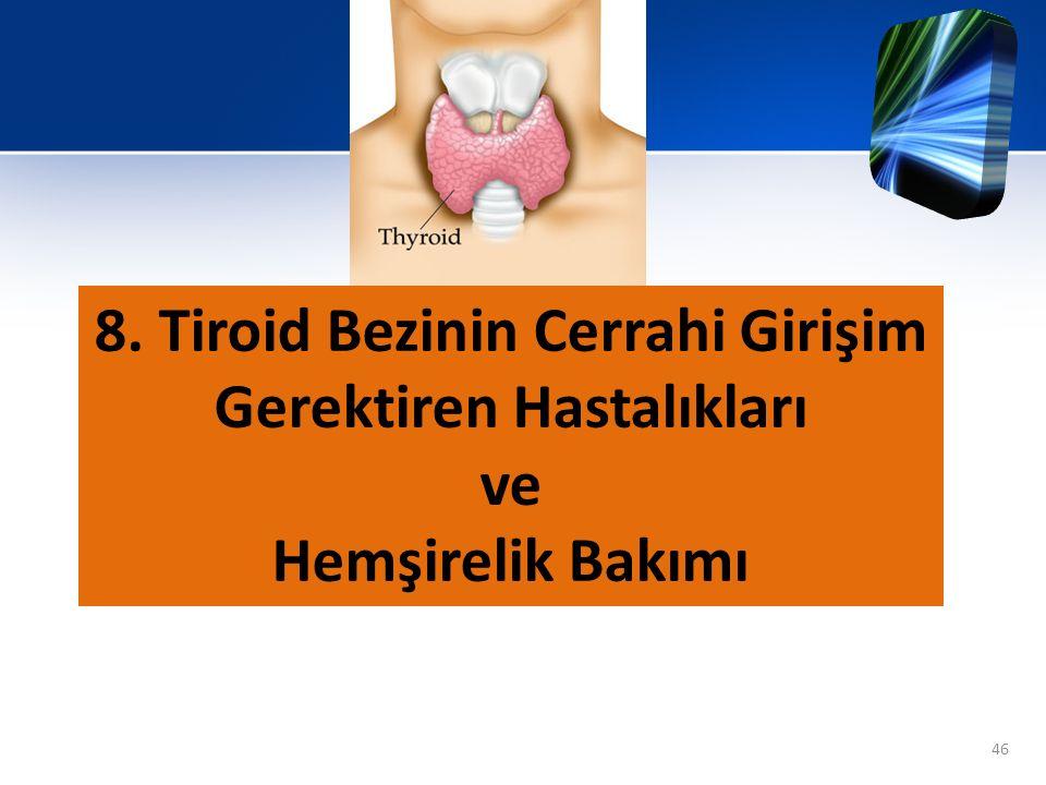 8. Tiroid Bezinin Cerrahi Girişim Gerektiren Hastalıkları ve Hemşirelik Bakımı 46