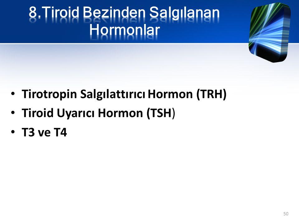 Tirotropin Salgılattırıcı Hormon (TRH) Tiroid Uyarıcı Hormon (TSH) T3 ve T4 50