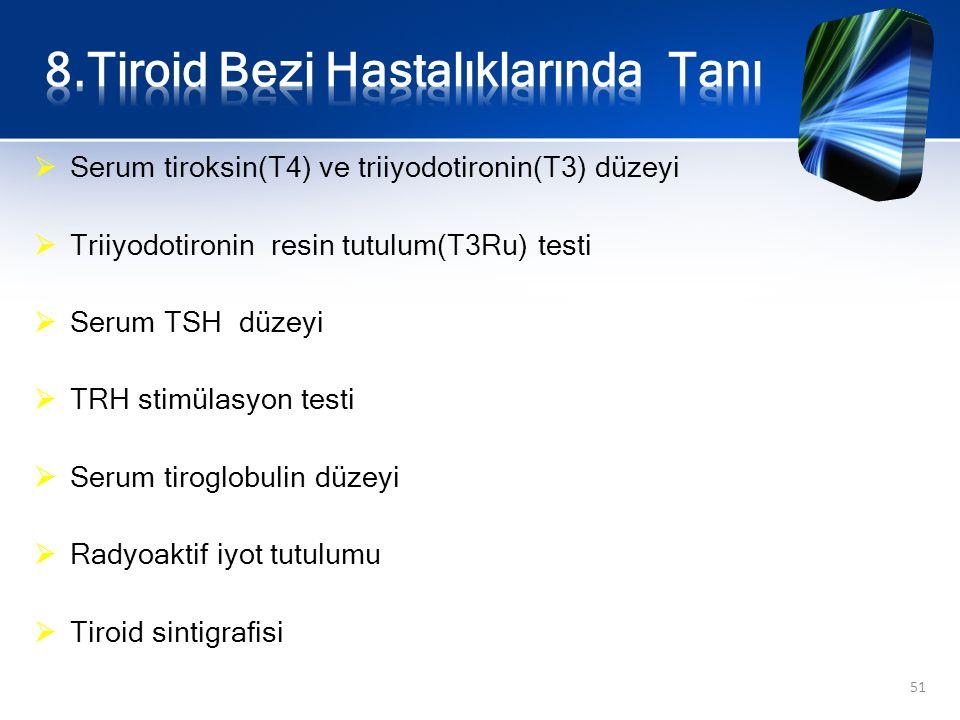  Serum tiroksin(T4) ve triiyodotironin(T3) düzeyi  Triiyodotironin resin tutulum(T3Ru) testi  Serum TSH düzeyi  TRH stimülasyon testi  Serum tiro