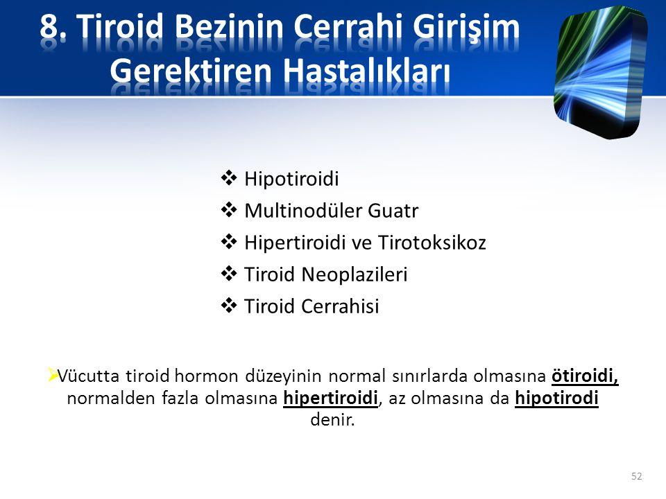  Hipotiroidi  Multinodüler Guatr  Hipertiroidi ve Tirotoksikoz  Tiroid Neoplazileri  Tiroid Cerrahisi 52  Vücutta tiroid hormon düzeyinin normal
