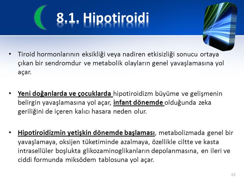 Tiroid hormonlarının eksikliği veya nadiren etkisizliği sonucu ortaya çıkan bir sendromdur ve metabolik olayların genel yavaşlamasına yol açar. Yeni d