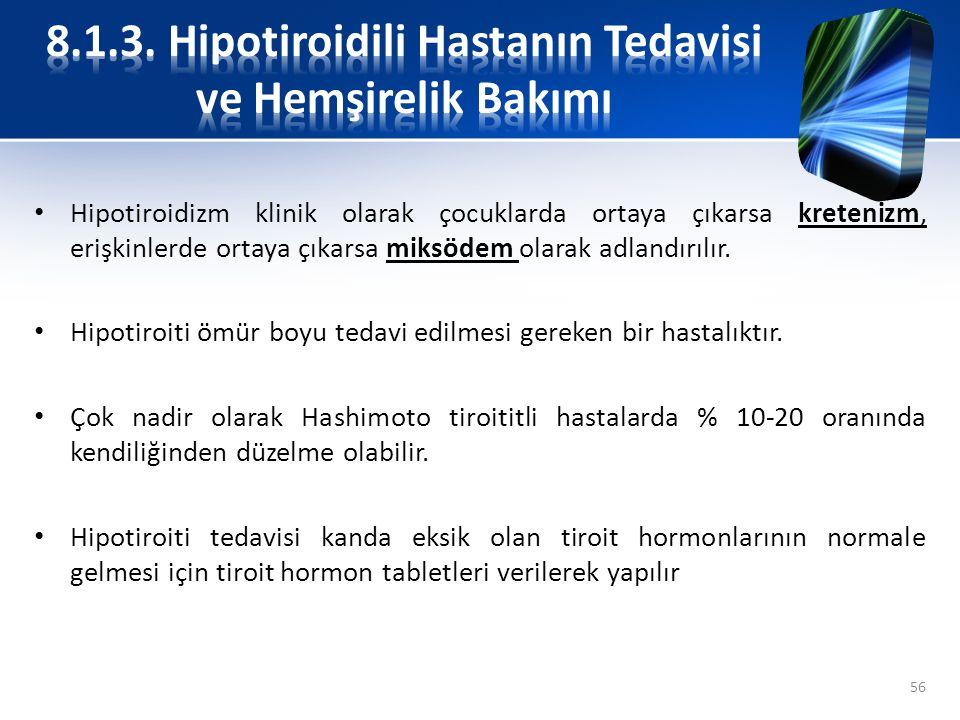 Hipotiroidizm klinik olarak çocuklarda ortaya çıkarsa kretenizm, erişkinlerde ortaya çıkarsa miksödem olarak adlandırılır. Hipotiroiti ömür boyu tedav