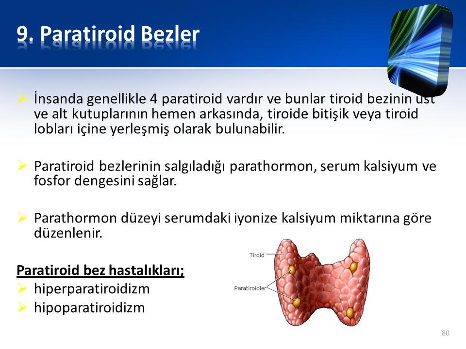  İnsanda genellikle 4 paratiroid vardır ve bunlar tiroid bezinin üst ve alt kutuplarının hemen arkasında, tiroide bitişik veya tiroid lobları içine y
