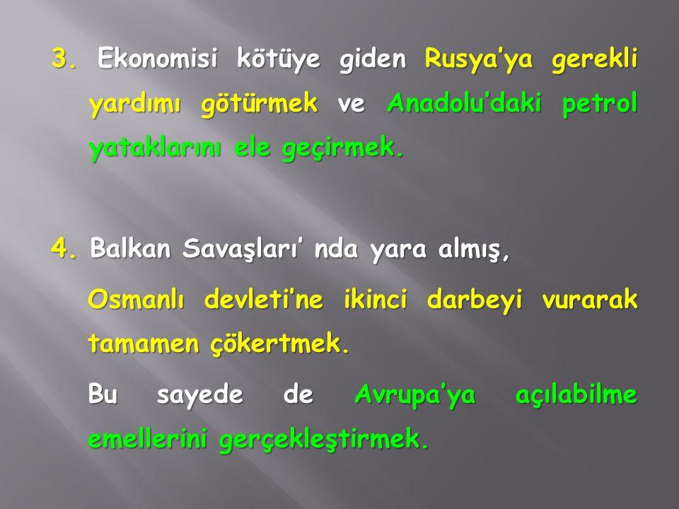 2. İngiliz ve Fransızların İstanbul'u ele geçirmek istemesi, Bulgar ordularının İstanbul kapılarını zorlaması ve bunun sonucu olarak; İstanbul ve boğa