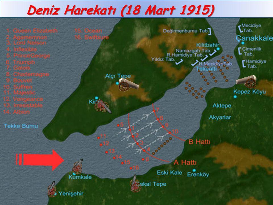 İtilaf devletleri, saldırıyı 18 Mart 1915'de gerçekleştirmişlerdir. Hedef, Çanakkale Boğazı'nın sadece 1 mil genişliğindeki en dar noktasıdır. Admiral