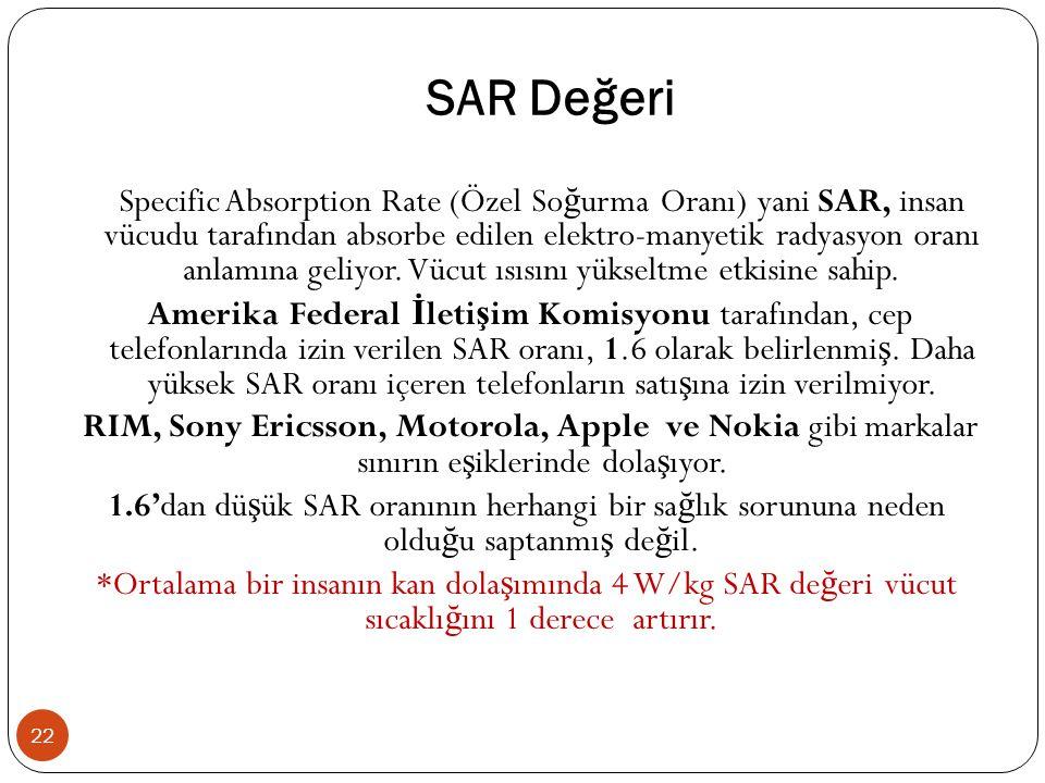 SAR Değeri 22 Specific Absorption Rate (Özel So ğ urma Oranı) yani SAR, insan vücudu tarafından absorbe edilen elektro-manyetik radyasyon oranı anlamına geliyor.