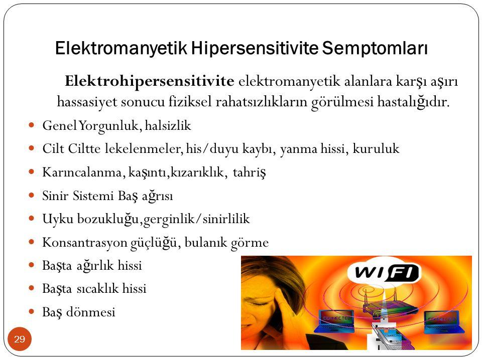 Elektromanyetik Hipersensitivite Semptomları Elektrohipersensitivite elektromanyetik alanlara kar ş ı a ş ırı hassasiyet sonucu fiziksel rahatsızlıkların görülmesi hastalı ğ ıdır.