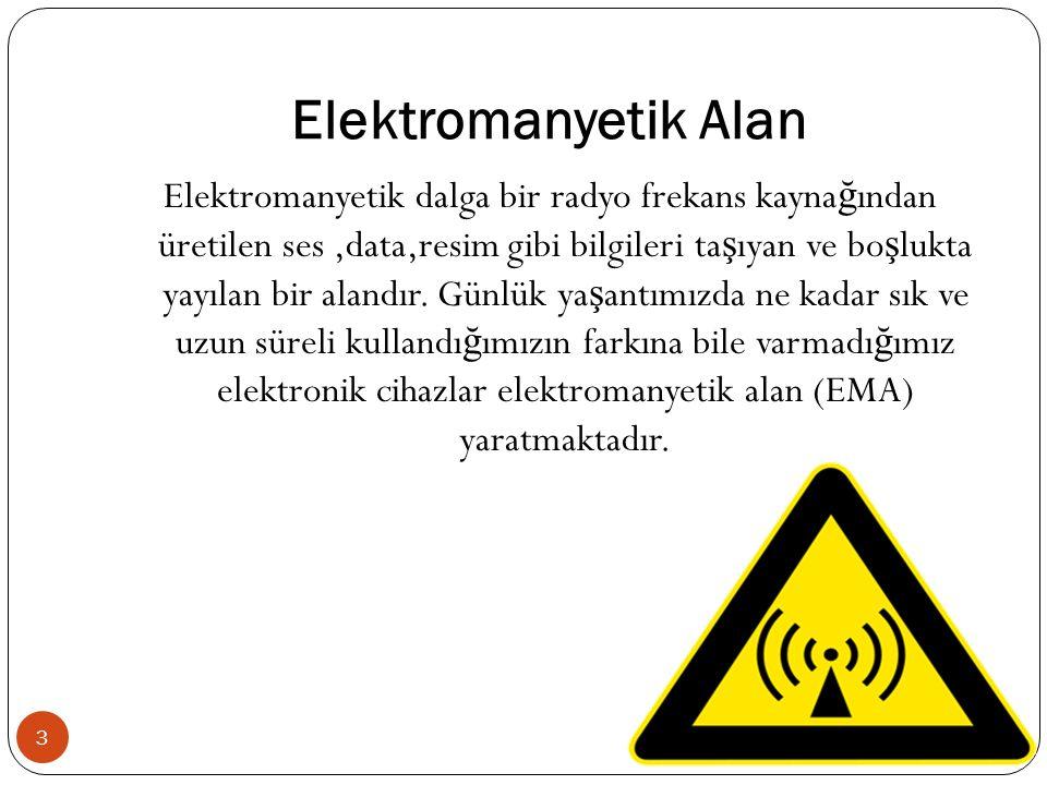 Elektromanyetik Alan Elektromanyetik dalga bir radyo frekans kayna ğ ından üretilen ses,data,resim gibi bilgileri ta ş ıyan ve bo ş lukta yayılan bir alandır.