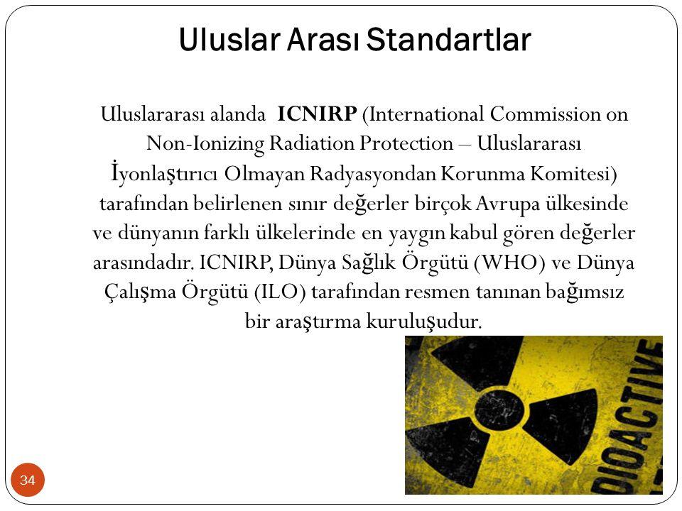Uluslar Arası Standartlar 34 Uluslararası alanda ICNIRP (International Commission on Non-Ionizing Radiation Protection – Uluslararası İ yonla ş tırıcı Olmayan Radyasyondan Korunma Komitesi) tarafından belirlenen sınır de ğ erler birçok Avrupa ülkesinde ve dünyanın farklı ülkelerinde en yaygın kabul gören de ğ erler arasındadır.