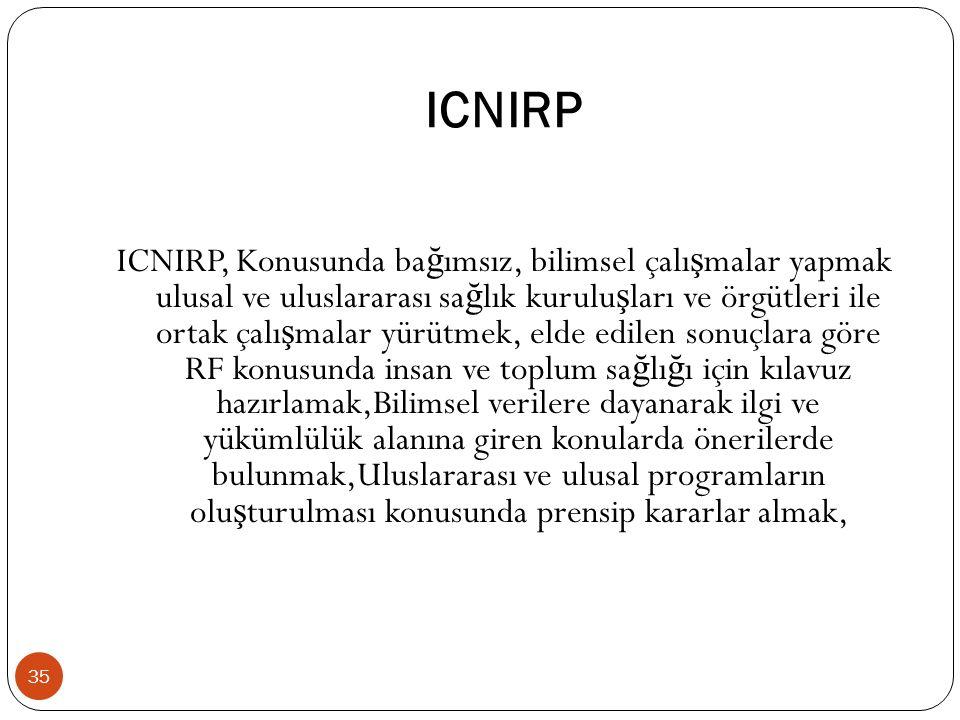 ICNIRP 35 ICNIRP, Konusunda ba ğ ımsız, bilimsel çalı ş malar yapmak ulusal ve uluslararası sa ğ lık kurulu ş ları ve örgütleri ile ortak çalı ş malar yürütmek, elde edilen sonuçlara göre RF konusunda insan ve toplum sa ğ lı ğ ı için kılavuz hazırlamak,Bilimsel verilere dayanarak ilgi ve yükümlülük alanına giren konularda önerilerde bulunmak,Uluslararası ve ulusal programların olu ş turulması konusunda prensip kararlar almak,