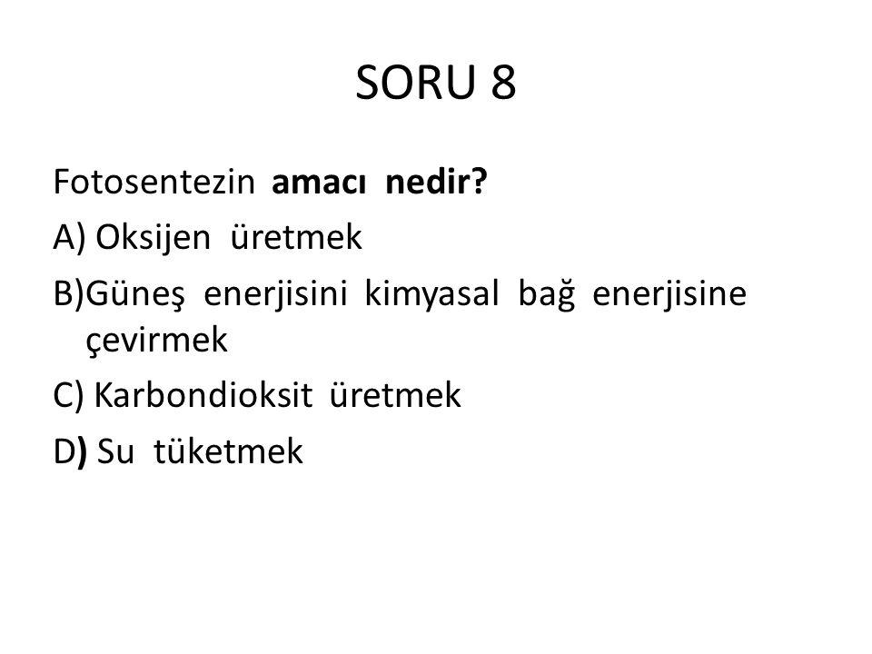 SORU 8 Fotosentezin amacı nedir? A) Oksijen üretmek B)Güneş enerjisini kimyasal bağ enerjisine çevirmek C) Karbondioksit üretmek D) Su tüketmek