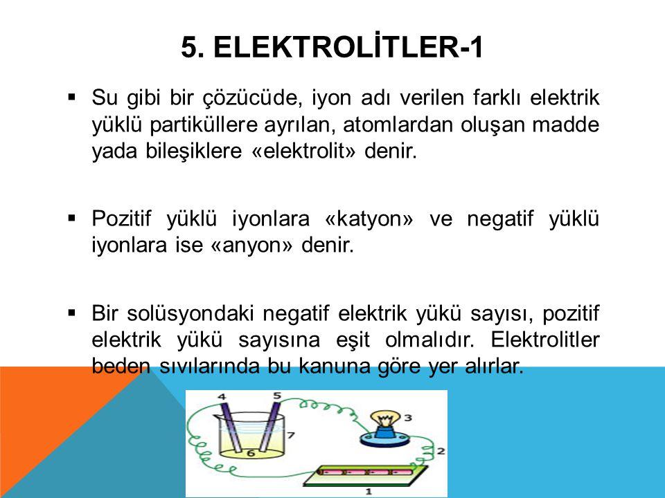 5. ELEKTROLİTLER-1  Su gibi bir çözücüde, iyon adı verilen farklı elektrik yüklü partiküllere ayrılan, atomlardan oluşan madde yada bileşiklere «elek
