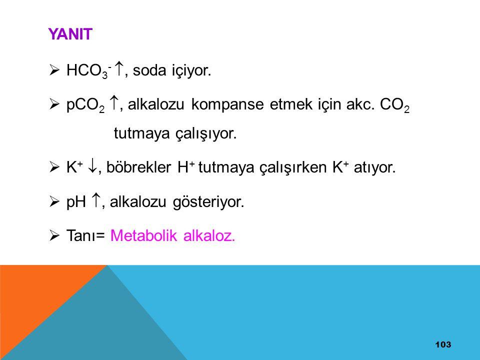 103 YANIT  HCO 3 - , soda içiyor.  pCO 2 , alkalozu kompanse etmek için akc. CO 2 tutmaya çalışıyor.  K + , böbrekler H + tutmaya çalışırken K +