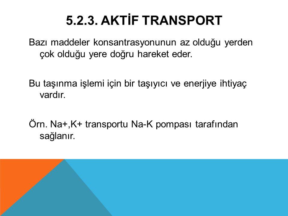 5.2.3. AKTİF TRANSPORT Bazı maddeler konsantrasyonunun az olduğu yerden çok olduğu yere doğru hareket eder. Bu taşınma işlemi için bir taşıyıcı ve ene