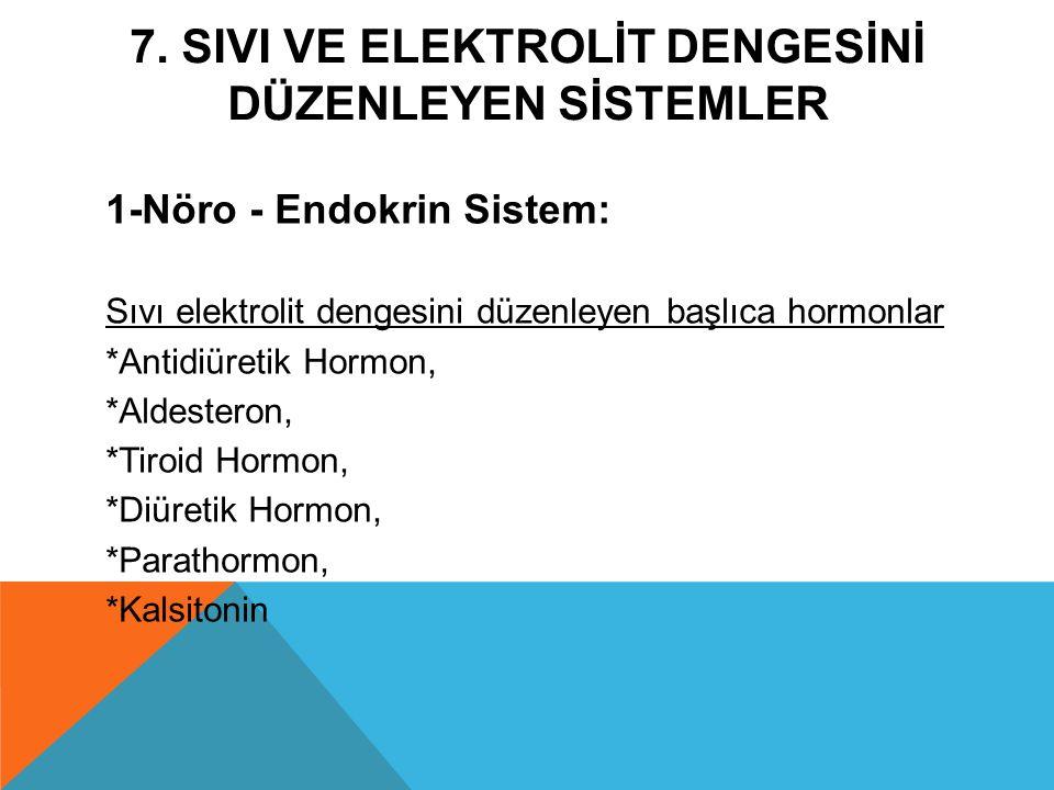 7. SIVI VE ELEKTROLİT DENGESİNİ DÜZENLEYEN SİSTEMLER 1-Nöro - Endokrin Sistem: Sıvı elektrolit dengesini düzenleyen başlıca hormonlar *Antidiüretik Ho