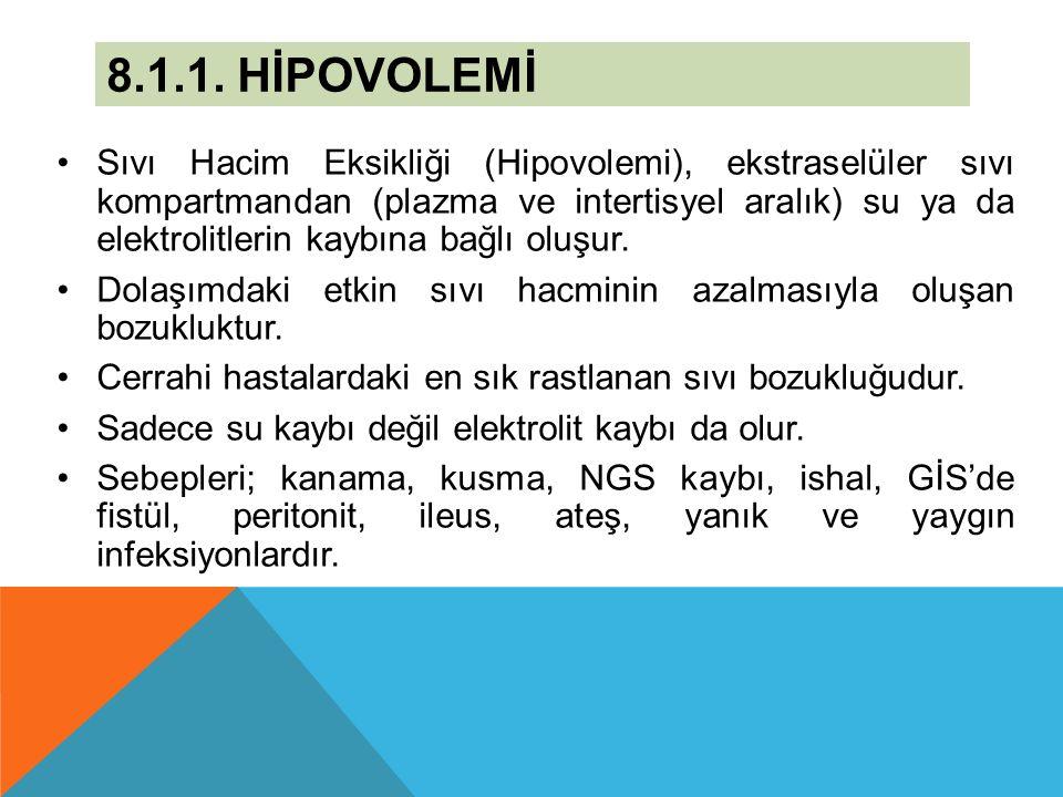 8.1.1. HİPOVOLEMİ Sıvı Hacim Eksikliği (Hipovolemi), ekstraselüler sıvı kompartmandan (plazma ve intertisyel aralık) su ya da elektrolitlerin kaybına