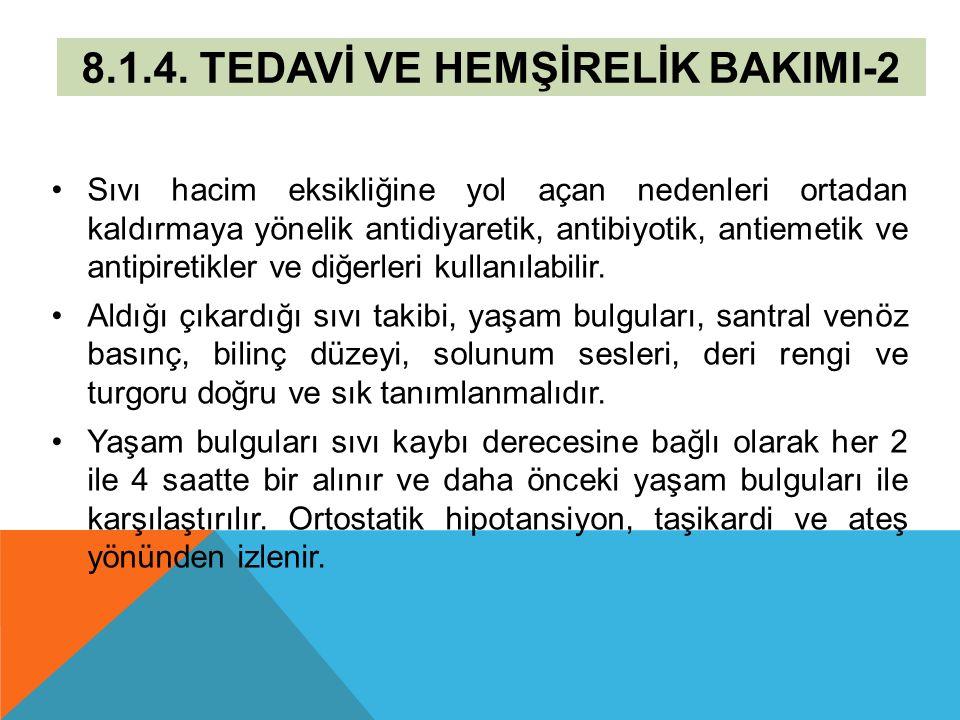 8.1.4. TEDAVİ VE HEMŞİRELİK BAKIMI-2 Sıvı hacim eksikliğine yol açan nedenleri ortadan kaldırmaya yönelik antidiyaretik, antibiyotik, antiemetik ve an