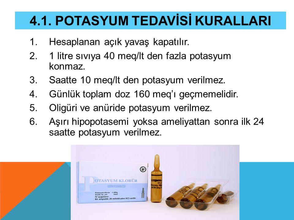 4.1. POTASYUM TEDAVİSİ KURALLARI 1.Hesaplanan açık yavaş kapatılır. 2.1 litre sıvıya 40 meq/lt den fazla potasyum konmaz. 3.Saatte 10 meq/lt den potas