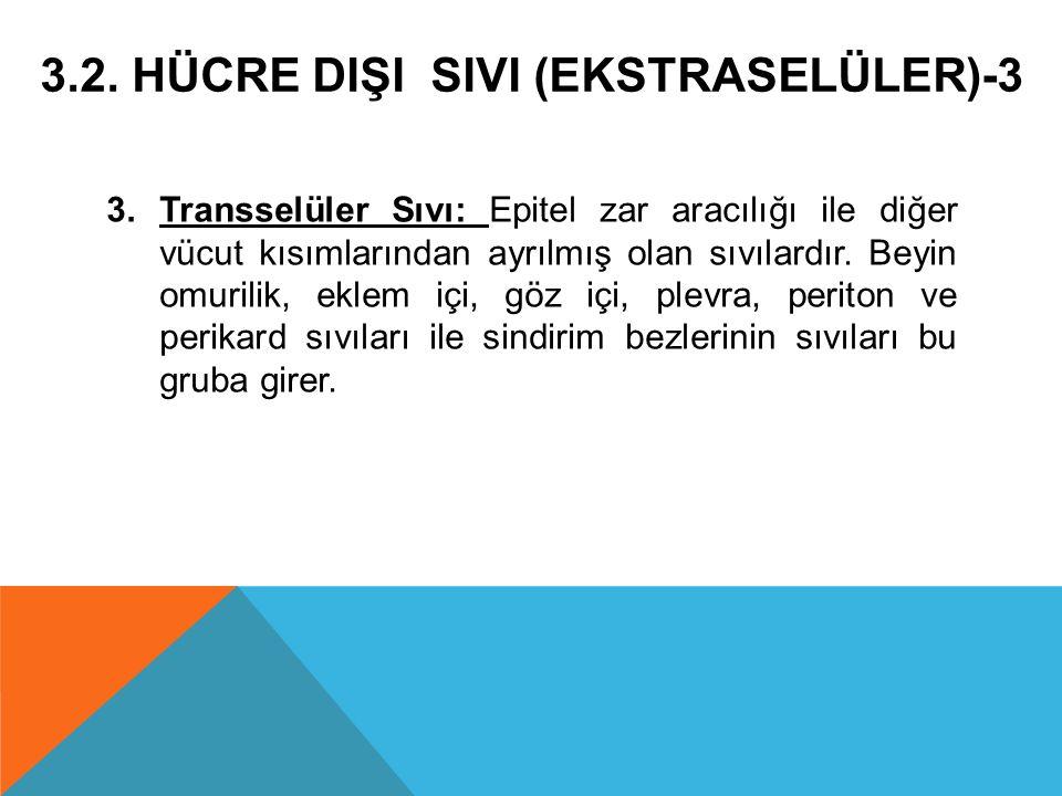 3.2. HÜCRE DIŞI SIVI (EKSTRASELÜLER)-3 3.Transselüler Sıvı: Epitel zar aracılığı ile diğer vücut kısımlarından ayrılmış olan sıvılardır. Beyin omurili