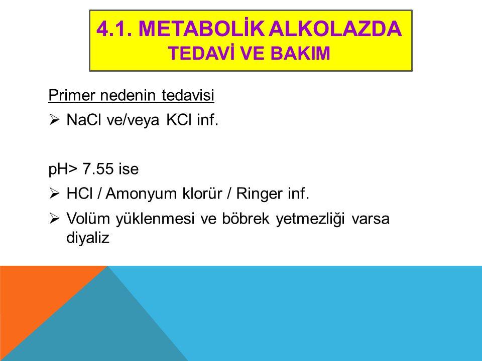 4.1. METABOLİK ALKOLAZDA TEDAVİ VE BAKIM Primer nedenin tedavisi  NaCl ve/veya KCl inf. pH> 7.55 ise  HCl / Amonyum klorür / Ringer inf.  Volüm yük