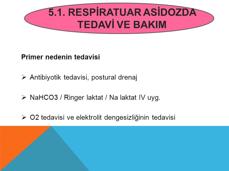 5.1. RESPİRATUAR ASİDOZDA TEDAVİ VE BAKIM Primer nedenin tedavisi  Antibiyotik tedavisi, postural drenaj  NaHCO3 / Ringer laktat / Na laktat IV uyg.