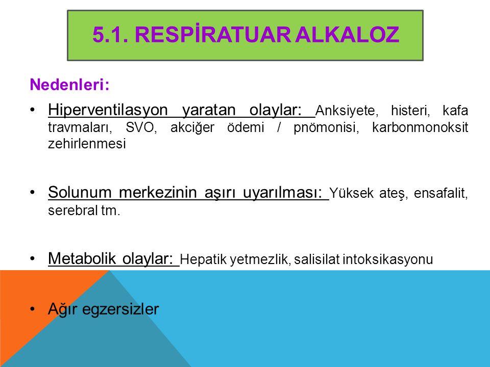 5.1. RESPİRATUAR ALKALOZ Nedenleri: Hiperventilasyon yaratan olaylar: Anksiyete, histeri, kafa travmaları, SVO, akciğer ödemi / pnömonisi, karbonmonok