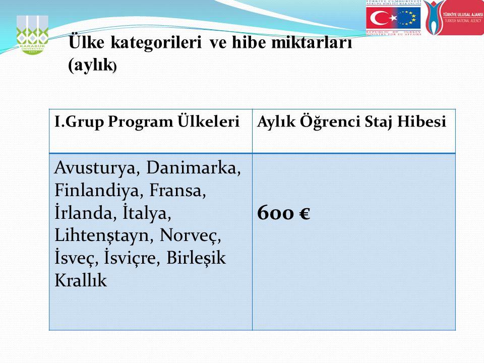 I.Grup Program ÜlkeleriAylık Öğrenci Staj Hibesi Avusturya, Danimarka, Finlandiya, Fransa, İrlanda, İtalya, Lihtenştayn, Norveç, İsveç, İsviçre, Birleşik Krallık 600 €