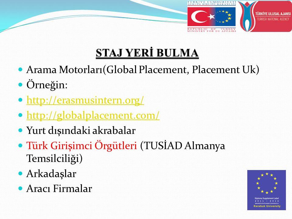 STAJ YERİ BULMA Arama Motorları(Global Placement, Placement Uk) Örneğin: http://erasmusintern.org/ http://globalplacement.com/ Yurt dışındaki akrabalar Türk Girişimci Örgütleri (TUSİAD Almanya Temsilciliği) Arkadaşlar Aracı Firmalar